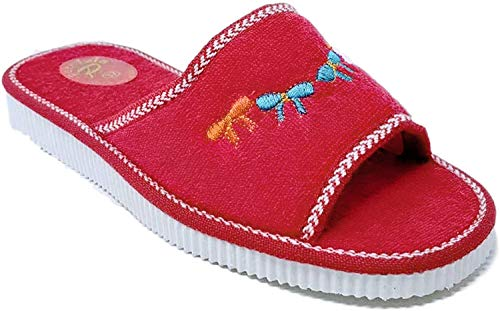 Sandalo Donna Ciabatte Mare Piscina Spa Spugna 100% Art. Ischia (36 EU, Rosso)