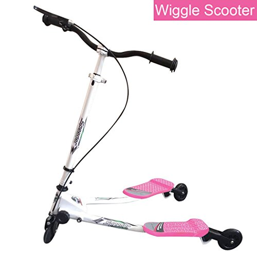 DaBao 3 Wheeled Scooter - Height Adjustable Push Swing Wiggle Scooters with Drifting Self Propelling for Boys/Girl/Adult Age 9 Years Old and Up