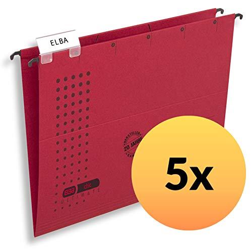 Elba 100560141 Ultimate - Confezione da 5 cartelle sospese della serie'Chic', apertura laterale, colore: Rosso