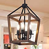 4-Light Rustic Chandelier, Adjustable Height Lantern Pendant Light Fixture with Oak Wood and Iron Finish for Dining Room Kitchen Island Hallway Entryway