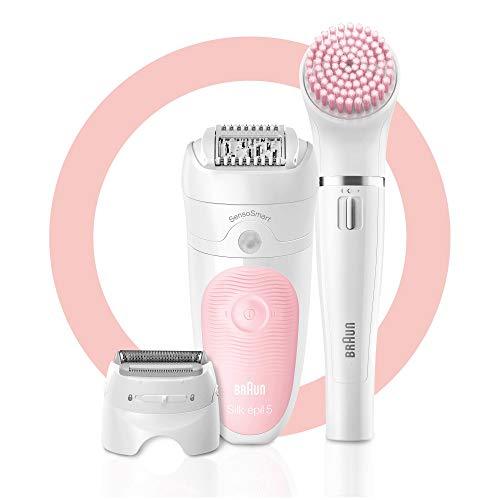 Braun Silk-épil Beauty-Starter-Set 5-895, 6-in-1 Kabellose Wet&Dry Haarentfernung, Epilierer, Rasierer, Reinigung und Peeling für Gesicht und Körper, weiß/flamingo