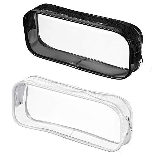 2 astucci trasparenti per matite, grande capacit, in PVC, per esami, cancelleria, cosmetici, per...