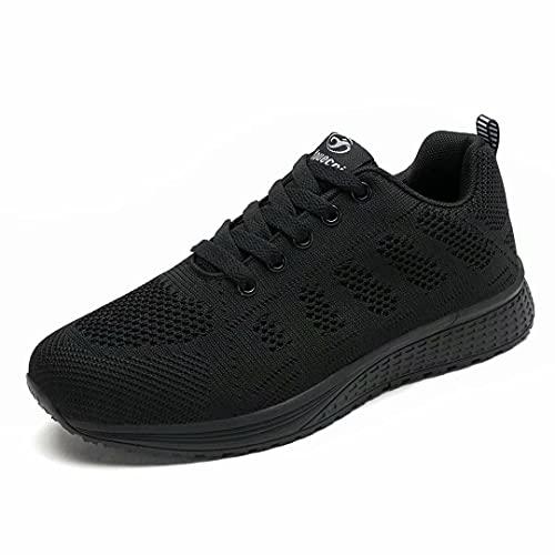 Hoylson Zapatillas de Deportivos para Mujer Running Zapatos Asfalto Ligeras Calzado Aire Libre Sneakers(Negro Completo, EU 37)