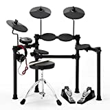 QoQoba Electronic Drum Set PRO Lite 8K Series | MIDI Digital Electric Drum Set for Kids Adult Beginners | 3-Cymbals, 3-Toms, 1-Snare, 1 Module | Incl Stdio Headphone & Drum Seat w/ 60-Days Live Lesson