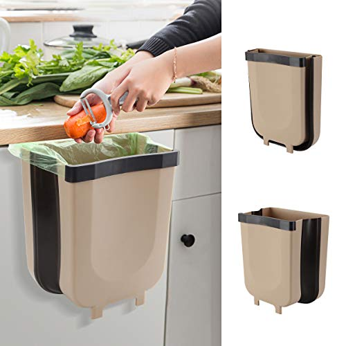 Hanging Trash Can Kitchen Waste Bin Cabinet Collapsible Mini...