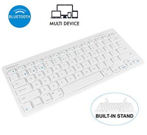 Macally Compact Wireless Keyboard - Built-in Stand & Multi-Device Sync - Mac Bluetooth Keyboard - Compatible with Mac, iMac, Macbook Pro/Air, iPhone, iPad, PC, Android, etc. - Mac Wireless Keyboard
