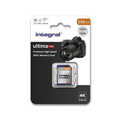 Integral Carte Mémoire 256Go SDXC Premium Haute Vitesse jusqu'à 100MB/s Classe 10 V30 UHS-I U3