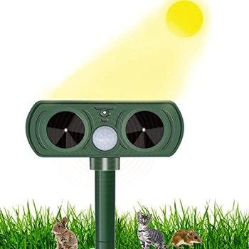 Jsdoin Répulsif pour animaux à rotation automatique solaire imperméable dissuasif animal extérieur avec détecteur de mouvement et lumières clignotantes pour chats, chiens, animaux sauvages jardin cour