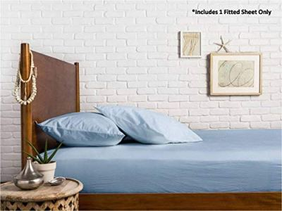 Mayfair Linen 100% Egyptian Cotton Sateen Weave 800 Thread Count Twin Fitted Sheet with Elastic All Around - Fits Mattress Upto 18 inches Light Blue