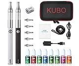 E Cigarette Chicha Cigarette électronique/Double Kit: 2x Batterie EVOD 1100mAh + 2x Atomiseur Mini Protank + 5x bobines supplémentaires + 8x10ML E liquide sans nicotine KUBO (2 pièces noir + blanc)