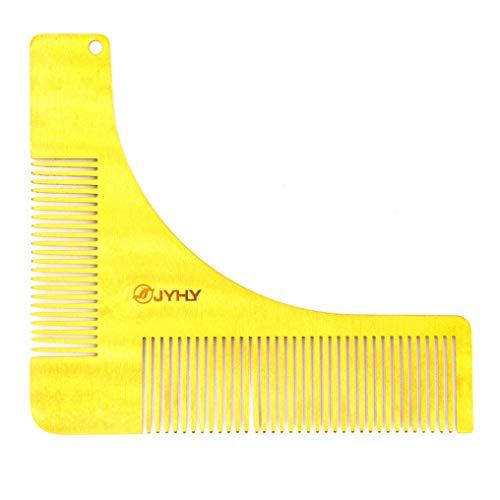 JYHY® Pettine Barba Forma Uomo in Acciaio Inossidabile Disegno per Styling Taglio Barba Pettine da Barba Modellante Portatile