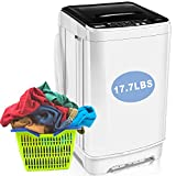 Portable Washing Machine With Drain Pump, Clothes Washing Machines, Nictemaw 17.7lbs Capacity Full-Automatic Compact Washer, 10 Programs Selections and Led Display Ideal For Home/Dorms/Rv/Apartments