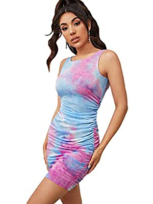 Fabric is stretchy Features: tie dye, ruched sides, round neck, sleeveless, bodycon, slim fit, above knee length, short dress, pencil dress, tank dress Fit for summer season, casual, street, dating, night out, basic Model Measurements: Height: 68.5 i...