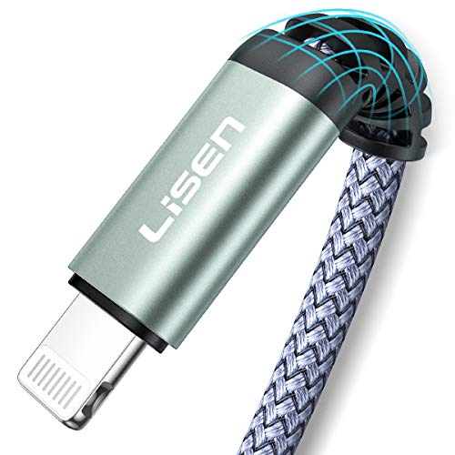 LISEN (6ft / 1.88m) iPhone Charger Cable, [ Apple MFi Certified ] [ Never Rupture ] Lightning to USB A Cable, 2.4A Fast Charging Cord Compatible with 11 Pro Max XS XR X 8 7 6S 6 Plus iPad