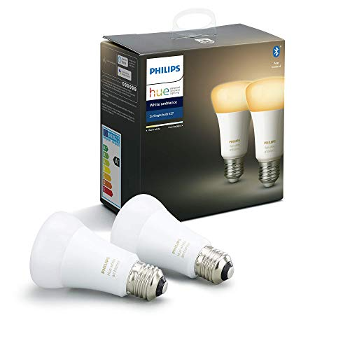 Philips Hue Pack de 2 Bombillas Inteligentes LED E27, con Bluetooth,...
