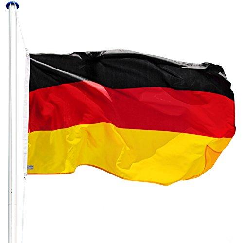 TecTake Aluminium Fahnenmast 6,25 m mit Fahne + Bodenhülse + Seilzug (Deutschland   Nr. 402125)