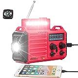 Solar Hand Crank Portable NOAA Weather Alert Radio,5-Way Powered AM/FM/SW Emergency Radio for Household&Outdoor,2500mAh Battery Power Bank USB Charger,LED Flashlight/Camping Lantern,SOS Alarm&Compass