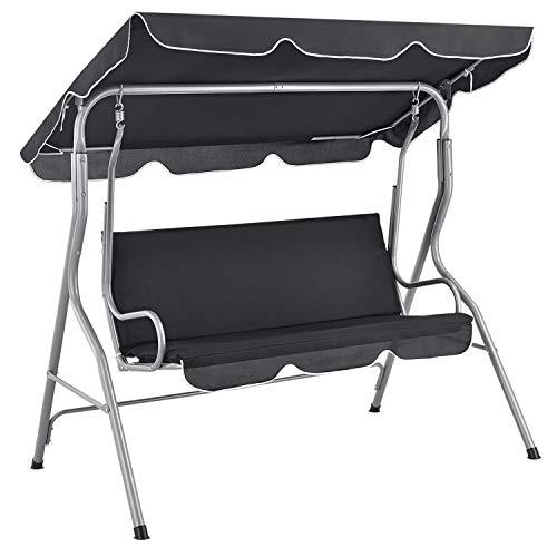 ArtLife Hollywoodschaukel 3-Sitzer mit Dach & Sitzauflage – Gartenschaukel 200 kg belastbar – Schaukelbank für Garten & Terrasse - grau