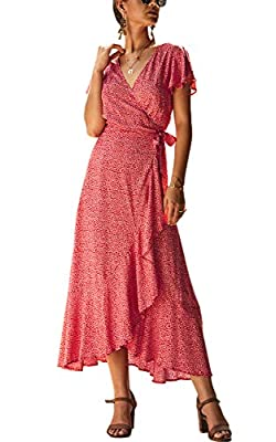 Material - This fashion dress is made of polyester. You will feel comfortable to skin, soft and breathable. Feature - Tie Closure, Wrap V Neck, Bohemian, Short Sleeve, High Waist, Floral Printed, High Split, Maxi Long Dress. Show your Elegant and Fas...
