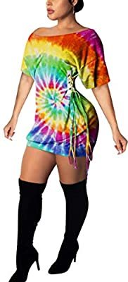 ❀ Material: Polyester + Spandex. Soft material, light and comfortable, a must-have dress in your wardrobe. ❀ Features: Casual style,Round neck,Short sleeve,Tie dye mini dress,T-shirt dress,Summer casual short dress,Colorful tunic top dress,Side draws...