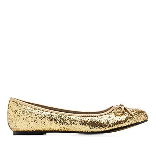 Andrés Machado - Bailarinas de Mujer con Mini tacón y Lazo Decorativo - TG104 - Loafer para Mujer - Zapatos Muy cómodos – Bailarina de Invierno y Verano - Oro, EU 45