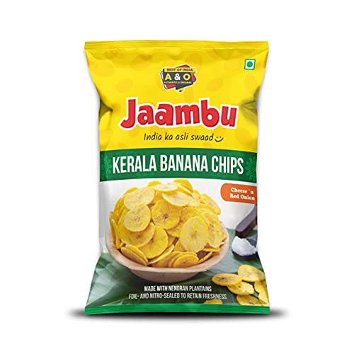 Jaambu Kerala Banana Chips, Cheese & Red Onion Flavour 500 Grams