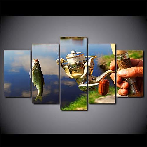 zayduo 5 Pannelli Stampa Artistica Tela Decorazioni per la casa Pittura Canna da Pesca modulare Immagini Stampe HD 5 Pezzi Pesce da Pesca Poster Soggiorno Arte della Parete