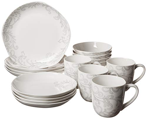 Fitz and Floyd Organic Coupe Maddi 16-Piece Dinnerware Set, Assorted