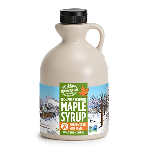 Butternut Mountain Farm Pure Maple Syrup From Vermont, Grade A, Amber Color, Rich Taste, All Natural, Easy Pour Jug, 32 Fl Oz, 1 Qt