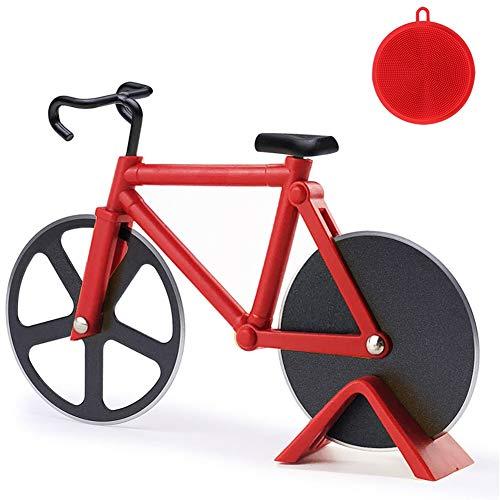 Fahrrad Pizzaschneider, 100% Essen Grade Antihaftbeschichteter Edelstahl Doppel Pizza Schneider,...