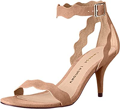 Sandal featuring covered kitten heel and scalloped straps Adjustable ankle strap with metallic buckle Lightly padded footbed