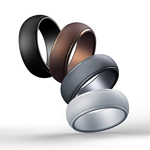 Cabepow Silicone Wedding Ring for Men, 4 Packs & Singles Silicone Rubber Wedding Bands - Step Edge Sleek Design - Metallic, Black and Camo Colors-Size 10