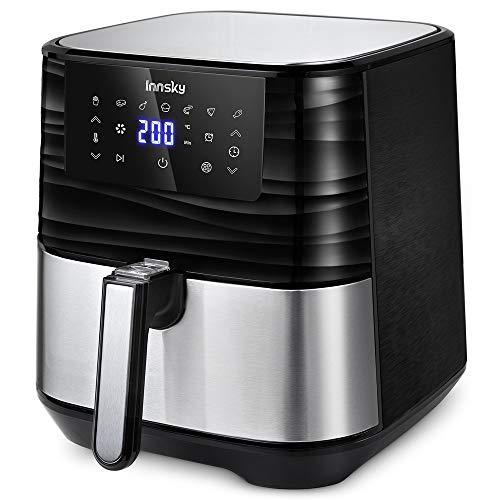 Innsky 5.5L Friggitrice ad Aria in acciaio inossidabile, 1700W Friggitrice Senza Olio, 7 Programmi e LED Touch Screen, Air Fryer per 5-6 persone, con 32 Ricette, senza BPA PFOA(Ultima versione)