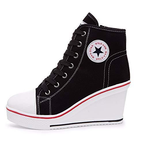 Mujer Cuñas Zapatos De Lona Qimaoo High-Top Zapatos Casuales Encaje Hebilla Cremallera Lateral Tacón Cuña 8CM
