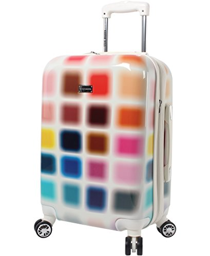 Steve Madden 20 Inch Carry On Luggage Collection - Scratch Resistant (ABS + PC) Hardside Suitcase - Designer Lightweight Bag with 8-Rolling Spinner Wheels (Cubic)