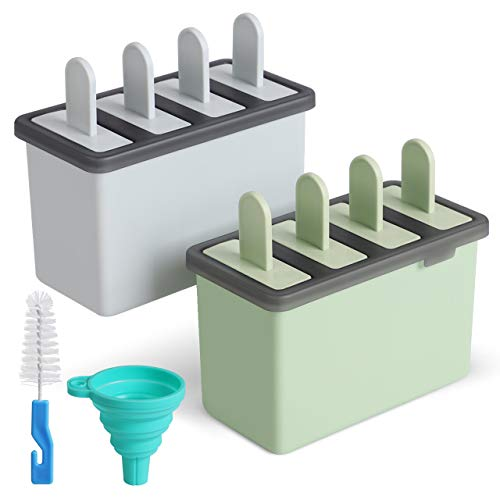 Kootek Popsicle Molds Sets 8 Ice Pop Makers Reusable Ice Cream Mold - Dishwasher Safe, Durable DIY Popsicles Tray Holders with Silicone Funnel, Cleaning Brush Kitchen Supplies (Blue and Green)