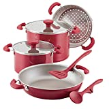 Rachael Ray 12166 8-Piece Create Delicious Stackable Nonstick Cookware Set, Red Shimmer