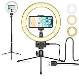 LEDリングライト照明キット外径9インチ 3色無段階調光モード USB卓上スタンド 自撮り三脚スタンド 高輝度照明スマートフォンスタンド付き調光可能 Youtubeビデオ/自撮り写真/美容化粧/カメラ撮影 - LOMTAP