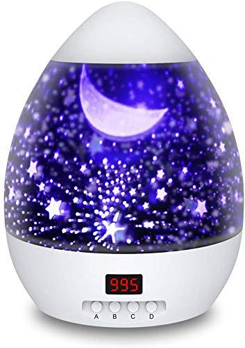 Lampada Proiettore Stelle con Timer, Luce Notturna per Bambini con 4 Colori Lampadine LED, USB Cavo,...