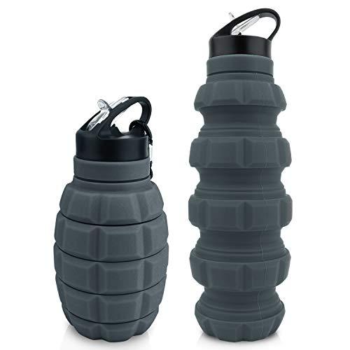 Gourde pliable Grenade 580 ml sans BPA Gourde anti-fuite en silicone...