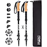 Foxelli Carbon Fiber Trekking Poles - Lightweight, Easy to Adjust, Collapsible Hiking Poles with Natural Cork Grips, Quick Locks, All Terrain Accessories & Carrying Bag