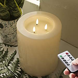 Simple to use–Remote to light or turn on and off. Timers with dimmer and 4 different settings. Long time : 3-C batteries.runs 500hours (not included) Will not melt if left in sun – Unlike wax candles, our candles are made of high grade resin that loo...