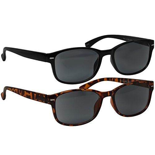 Black Tortoise Sun Reading Glasses 1.50 2 Pack Always Have a Timeless Look, Crystal Clear Vision, Comfort Fit with Sure-Flex Spring Hinge Arms & Dura-Tight Screws