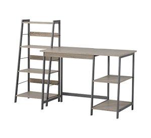 HOMESTAR 2 Piece Laptop Desk & 4-Shelf Bookcase Set, 43' x 23.6' x 47'/20' x 14' x 44', Reclaimed Wood