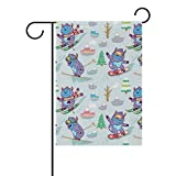 ColourLife Garden Flag Fun Yeti Snowboarding and Skiing Seasonal Holiday Yard House Flag Banner 28 x 40 inches Decorative Flag for Home Indoor Outdoor Decor