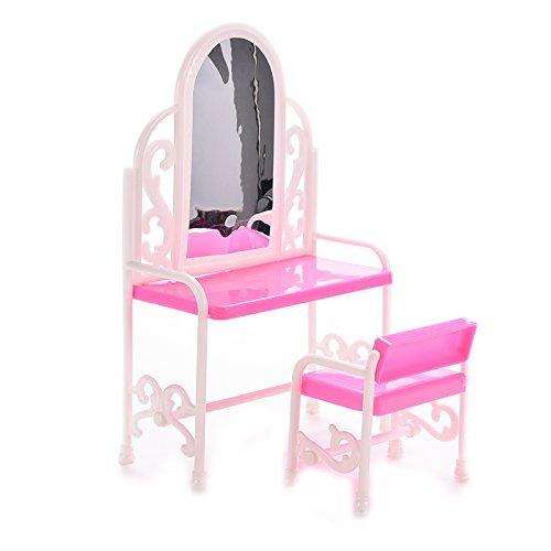 Sishe Dollhouse mini da tavolo, camera da letto e sedia per Barbies Dolls (rosa)