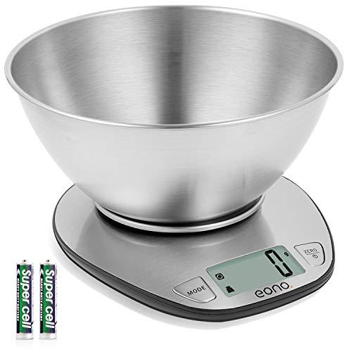 Eono by Amazon - Bilancia da cucina digitale, in acciaio inossidabile con piatto rimovibile, funzione tara, display LCD, capacit 5 kg/11 lb, garanzia 15 anni