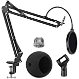 InnoGear Adjustable Mic Stand for Blue Snowball and Blue Snowball iCE Suspension Boom Scissor Arm Stand with Microphone Windscreen and Dual Layered Mic Pop Filter, Max Load 1.5 KG