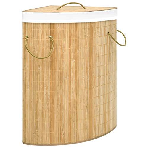 UnfadeMemory Eck-Wäschekorb Bambus Wäschesammler 60 L Wäschekorb Wäschebehälter mit Griff am Deckel Zusammenfaltbar Wäsche Haushalt Organizer 52,3x37x65 cm (Braun)