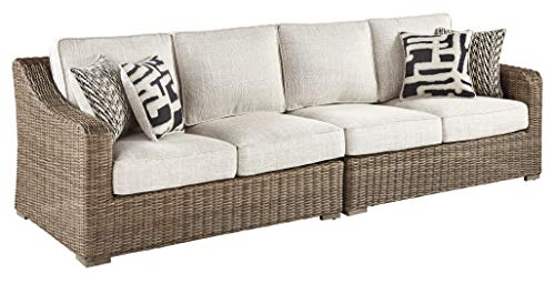 Signature Design by Ashley - Beachcroft Outdoor Loveseat Set - Left & Right Arm Facing Loveseats with Cushions -...